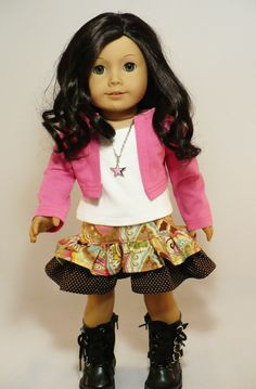 American Girl doll clothes - Valentine outfit - ruffled skirt, pink jacket, tee and necklace. $18.00, via Etsy.