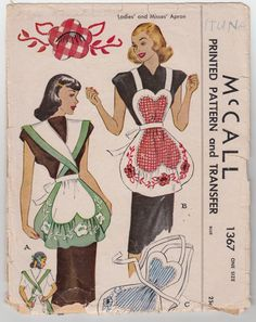 Vintage Sewing Pattern Tea Aprons with Large Floral by Mrsdepew, $30.00