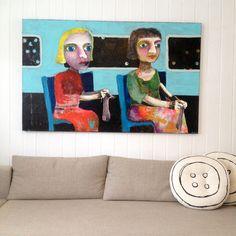 Norwegian artist. Kari Anne Marstein Akrylmaleri: Stort original maleri/mixed media 100 x 160 cm Nattoget