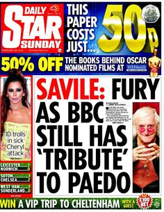 """""""Daily Star Sunday front page - Savile: fury as BBC still has 'tribute' to paedo Daily Star, Still Have, Bbc, Sunday, Paper, February 2016, Books, Ring, People"""