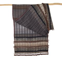 Dayalal Kudecha Stole, Cotton, Wool, and Tussah Silk, Black and Brown