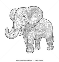 Elephant ornament ethnic raster version, tribal, tattoo, animal, art, stencil, abstract, design - stock photo
