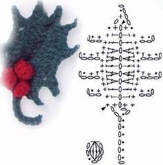 Ilexblatt - foglia-agrifoglio uncinetto