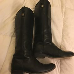 FRYE Boots Black leather Melissa button FRYE boots in decent condition. Frye Shoes