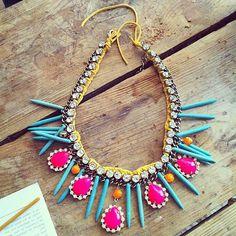 Hand painted rhinestones necklace statement bib neon by neontribe, $130.00