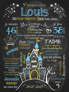 Affiche personnalisée anniversaire 2 à 5 ans Prince charmant (bleu) | 28,00$ #chalkboard #lacraieco