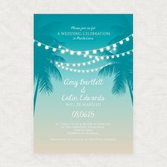 This printable invitation is perfect for a destination island wedding or beach party. With strings of lights suspended between palm trees and a
