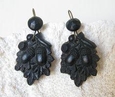 Victorian Gutta Percha Acorn Earrings   $225.00