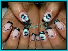 Black French, Teal Glitter & Violets by RadiD from Nail Art Gallery Gel Nails, Manicure, Violet Nails, One Stroke Nails, Gel Nail Designs, Nail Art Galleries, Flower Nails, Nails Magazine, Nail Care
