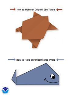 Endangered Species Origami from NOAA!  With these simple instructions you can create fun turtle or whale origami projects. Go further and used recycled paper to keep this even green-friendlier!