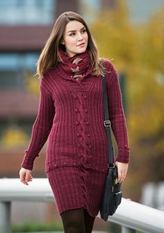 Design made for SandnesGarn, fall 2012 Red Pear, One Color, Knit Dress, Lana, Knit Crochet, Knitting Patterns, Dresser, Turtle Neck, Womens Fashion