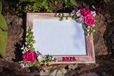 Personalized picture frame for wedding or birthday by PolyflowerStore on Etsy