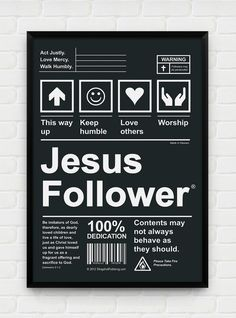 Inspirational, Printable Art, Download and Print JPEG Image - Jesus Follower Christian Poster. $10.00, via Etsy.