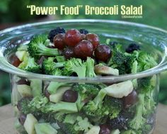 Power Food Broccoli Salad - raw broccoli salad made sweet with fruit and nuts all tossed in a simple vinaigrette -