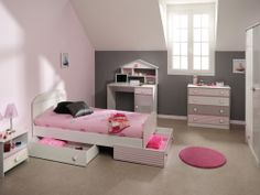 love the shades of grey and pink, and the underbed storage. And the sloped ceiling!