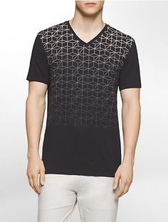 a slim fit v-neck t-shirt featuring soft cotton fabric and a gradient geometric print design.