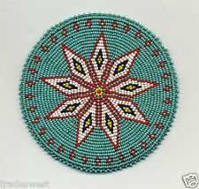 "Native American Beaded Medallion Designs | VINTAGE NATIVE AMERICAN HAND BEADED MEDALLION 4 7/8"" DIAMETER ...  NICE"