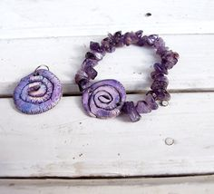 Violet ceramic jewelry set with amethyst . by AHouseAtelier, $35.00
