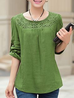 Women Blouse Casual Plus Sizes / Fluffy Spring, Solid Blue / Green Polyester Round Neckline Long Sleeve Medium Kurta Designs, Blouse Designs, Spring Blouses, Short Tops, Dress Patterns, Blouses For Women, Plus Size Fashion, Casual Outfits, Women's Casual