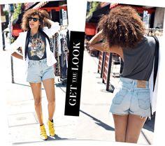 short Jeans com t-shirts e blazer branco/ Dicas de moda com estilo