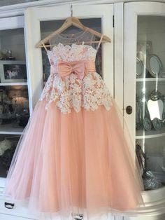 Vintage Flor Ninas Vestidos de Peach Sweetheart Sheer Escote de Encaje Sin Mangas Appliques Rebordear Ruffles Tul vestidos de Ba