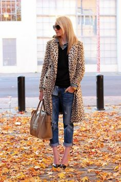 Great casual look! Leopard coat, boyfriends, heels and denim shirt layered under sweater