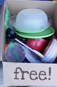 44 Project Purge: An ORGANIZED Garage Sale - FREE box, gets people looking longer, and gets rid of stuff that isn't moving!