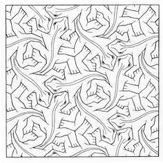 Best Coloring: M c escher coloring pages - Amazing Coloring sheets - Escher, who had been very fond of and inspired by the landscapes in Italy, was decidedly unhappy in Switzerland. In the family moved again, to U. Escher Kunst, Escher Art, Mc Escher, Escher Drawings, Escher Tessellations, Tessellation Patterns, Coloring Sheets, Coloring Books, 7th Grade Math Games
