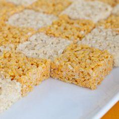 Orange and White Checkerboard Rice Krispie Treats. University of Tennessee. Vols . Football. #treat #dessert #sweets
