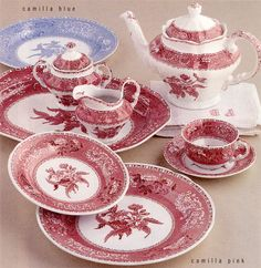 Manufacturer: SPODE - Pattern: Camilla - Color: Pink - Dinner plate, Salad plate, Soup Bowl, Coffee pot, cup & saucer  Spode:  Pink