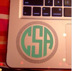 "3"" Inch Two Color Glitter Monogram Decal Perfect for Macbook Pro Laptop iPad or iPad Mini"
