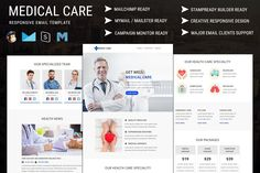 Medical Care - Responsive Email Newsletter Template Medical Care - Responsive email template is suitable for medical care, health care, clinic, hospital, doctors, physiotherapy, therapist, healer, pharmacy, medicine and general purpose. - Preview: Pennyblack Email Builder Preview: Stampready Builder Preview: - Medical Care email template is compatible with StampReady, MailChimp , Campaign Monitor, Mymail / Mailster and Pennyblack builder. - Features... Email Template Design, Email Templates, Newsletter Templates, Email Client, Email Email, Online Email, Campaign Monitor, Responsive Email, Medical Care
