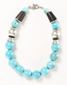 Vintage turquoise statement necklace with silver and wooden beads
