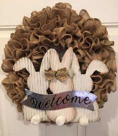 Easter Burlap Wreath With Bunny Sign   eBay