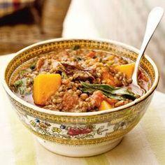 lentils, onion, tomato, butternut squash, swiss chard, cumin, cayenne pepper, coriander