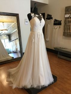 Beach Wedding Dress - Boho Wedding Dress with Floral Lace Neckline Boho Wedding Dress, Wedding Dress Styles, Boho Dress, Floral Lace, Bridal Gowns, Neckline, Wedding Ideas, Weddings, Future