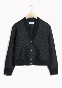 & Other Stories image 1 of Jacquard Bomber Jacket  in Black