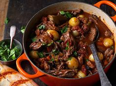 """James Martin's beef stew with dumplings recipe -add """"drop"""" dumplings with sugar and parsley. Chicken broth instead of beef, no red wine."""