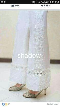 Idea for adding length to too-short pants Lehenga, Salwar Pants, Pants For Women, Clothes For Women, Ladies Pants, Salwar Designs, Desi Clothes, Trouser Pants, Silk Pants