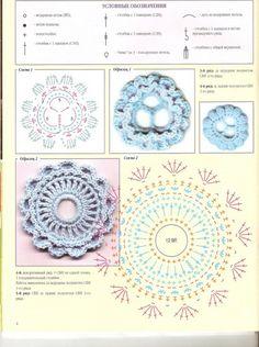 Fancy motifs schemes for crochet Irish Crochet Patterns, Crochet Motifs, Freeform Crochet, Crochet Chart, Crochet Squares, Crochet Doilies, Crochet Flowers, Crochet Stitches, Crochet Russe