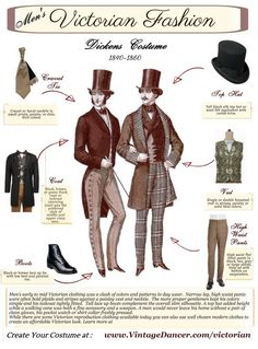 Men's Victorian costume guide. How to create Victorian era menswear looks with repro or new inspired clothing. Learn and shop at VintageDancer.com