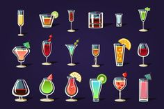 Alcohol Coctails and Other Drinks Graphics Original elements to create your own design.Zip contains: PSD / PNG / PDF/ JPEG / AI / ho by TopVectors Refreshing Summer Drinks, Summer Cocktails, Cocktails Vector, Verre Design, Alcoholic Cocktails, Party Poster, Pixel Art, Flat Design, Design Art