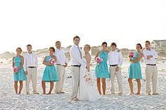 Tiffany blue bridesmaids, pink flowers, khakis, white button downs - beautiful for a beach wedding