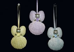 Scallop Shell Angels in pastel glitter...pearl heads, jump ring halos and ribbon hangers