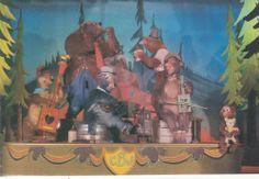 1pcs Disney Disneyland Cartoon Five Bear Rugs Postcard
