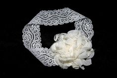 Baby Girl White Flower Hair Bow With White Lace by ItsyBitsyBeauty