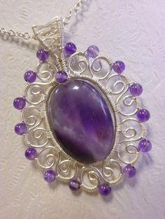 Oval amethyst gemstone pendant wire jewelry by Juditta on Etsy,