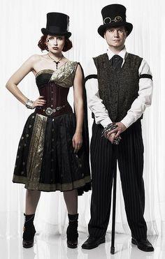 スチームパンクファッションのカップル