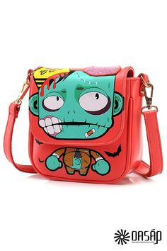 74bcb3065a the shoulder bag featuring cute zombie print. top zipper. side patched  pockets. long