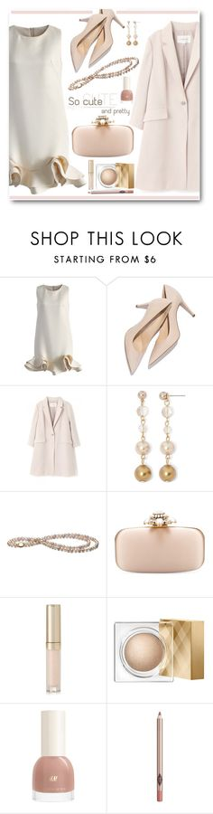 """""""Chicwish Champagne Shift Dress"""" by brendariley-1 ❤ liked on Polyvore featuring Chicwish, Vieste Rosa, Oscar de la Renta, By Terry, Burberry, Charlotte Tilbury, women's clothing, women, female and woman"""